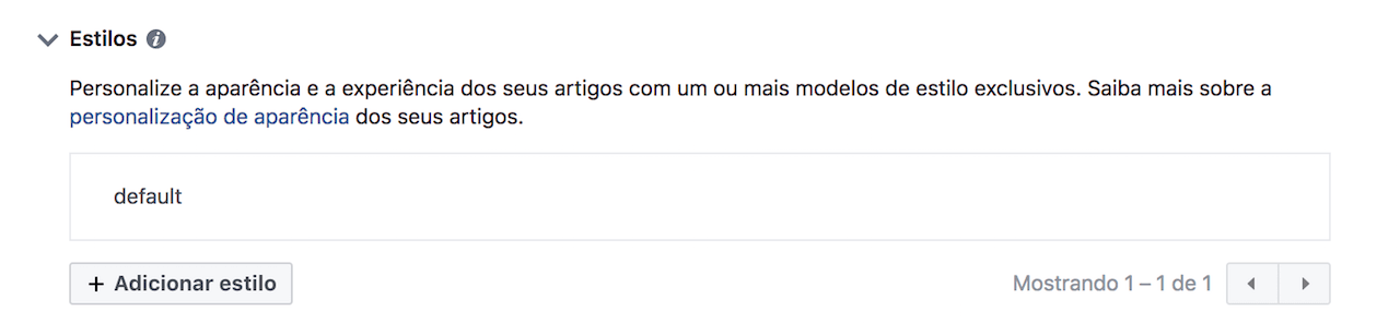 Editar o estilo do Instant Articles