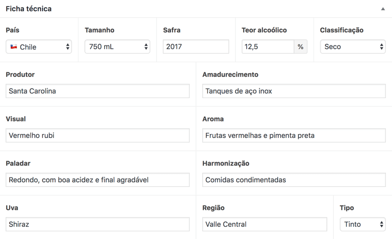 Campos de edição no back-end do WordPress